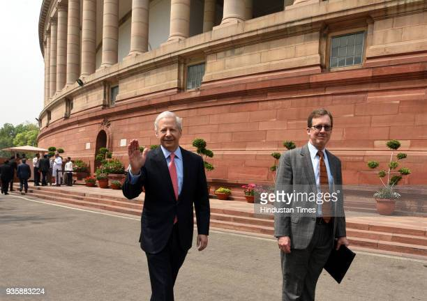 Ambassador of India Kenneth Juster with other officials during the Parliament Budget Session in New Delhi India on Wednesday March 21 2018
