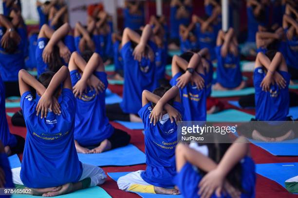 Ambassador of India to Nepal Manjeev Singh Puri giving speech after performing Yoga Position during the celebration of International Day of Yoga...
