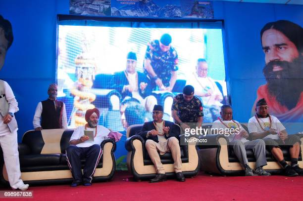 Ambassador of India to Nepal Manjeev Singh Puri Prime Minister of Nepal Sher Bahadur Deuba along with VIPs attends the celebration of International...