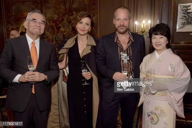 Ambassador of Japan Mr Kanji Yamanouchi Maggie Gyllenhaal Peter Saarsgard and Mrs Yamanouchi attend the Adeam Spring/Summer 2020 Dinner on September...