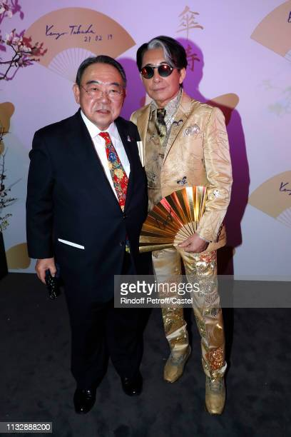 Ambassador of Japan to France Masato Kitera and Kenzo Takada attend the 80th Kenzo Takada Birthday Party at Pavillon Ledoyen on February 28 2019 in...
