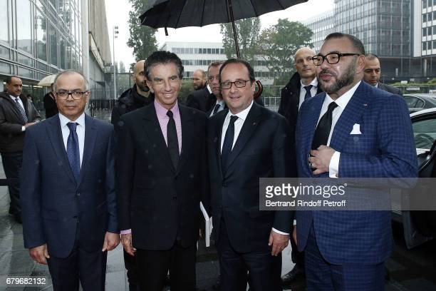 Ambassador of Marocco in France Chakib Benmoussa President of IMA Jack Lang French President Francois Hollande and Morocco's King Mohammed VI visit...