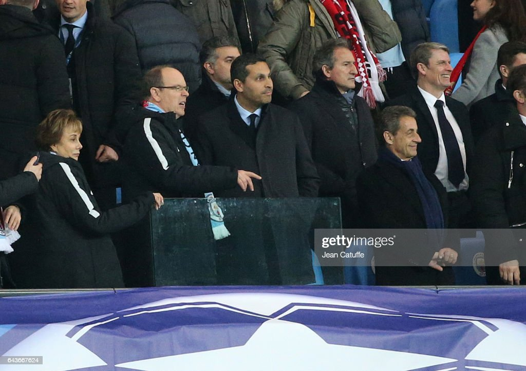 Ambassador of Monaco in United Kingdom Evelyne Genta, Prince Albert II of Monaco, Chairman of Manchester City Khaldoon Al Mubarak, former French President Nicolas Sarkozy attend the UEFA Champions League Round of 16 first leg match between Manchester City FC and AS Monaco at Etihad Stadium on February 21, 2017 in Manchester, United Kingdom.