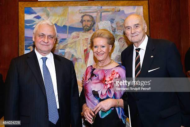 Ambassador of Russia Alexandre Orlov President of Fondation Romanoff Prince Dimitri Romanoff and Princess Romanoff attending the celebration of 26...