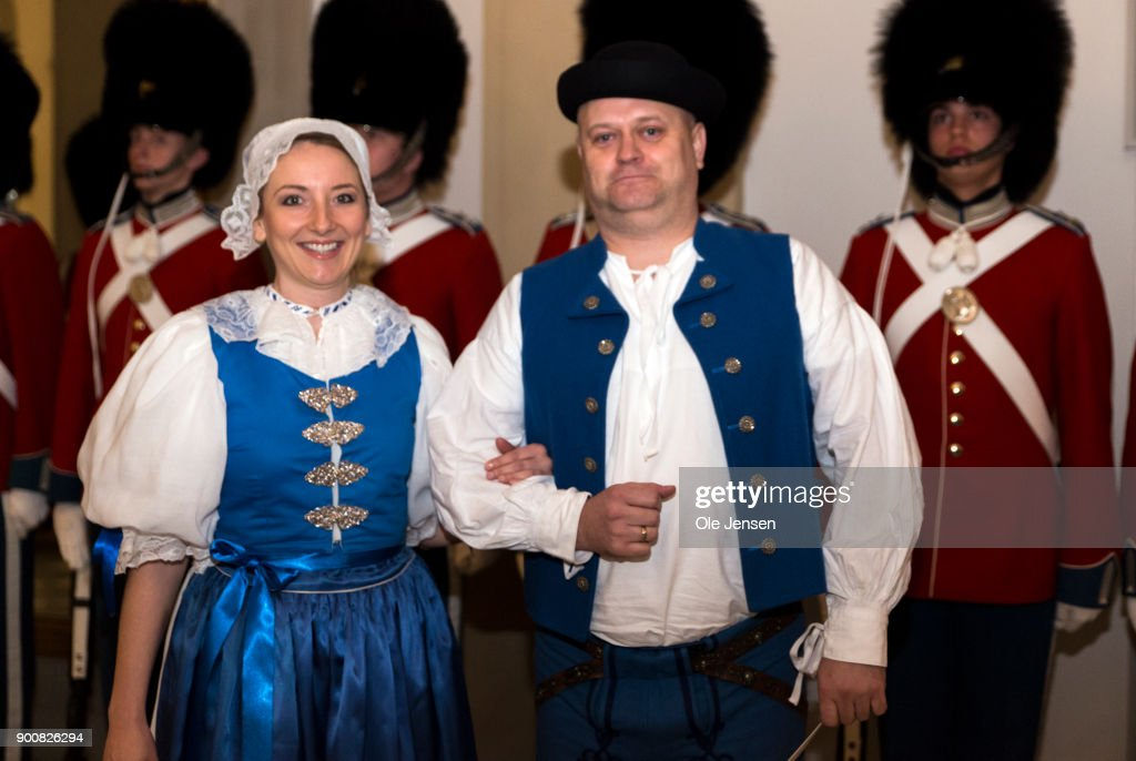 Ambassador of Slovakia Viera Motesicka and husband arrive in national costume at the Traditional New Year's Banquet for foreign diplomats hosted by Queen Margrethe of Denmark at Christiansborg Palace on January 3, 2018 in Copenhagen, Denmark.