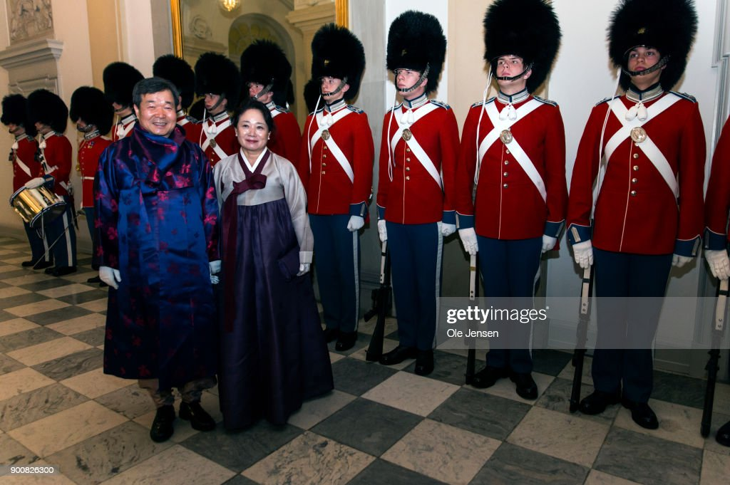 Ambassador of South Korea Jai Chui Choi and wife arrive in national costume at the Traditional New Year's Banquet for foreign diplomats hosted by Queen Margrethe of Denmark at Christiansborg Palace on January 3, 2018 in Copenhagen, Denmark.
