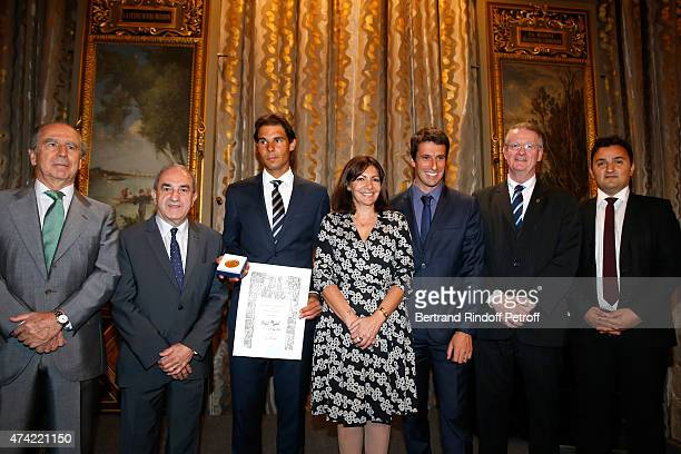 Ambassador of Spain in Paris Ramon de Miguel Egea President of French Tennis Federation Jean Gachassin Tennis Player Rafael Nadal Mayor of Paris Anne...