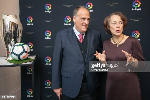 Ambassador of Spain to Belgium Cecilia Yuste Rojas and La Liga President Javier Tebas attends LaLiga offices inauguration at the Spanish embassy on...