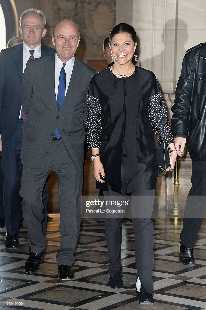 Ambassador of Sweden to France Gunnar Lund (L) and Crown Princess Victoria of Sweden arrive at the Opera Garnier on March 6, 2014 in Paris, France.