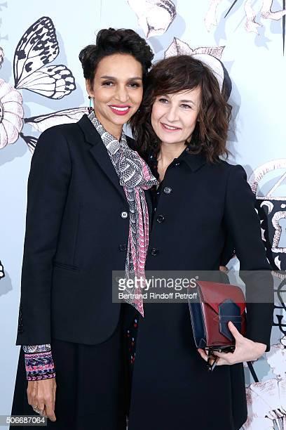 Ambassador of the house Schiaparelli Farida Khelfa and Actress Valerie Lemercier attend the Schiaparelli Haute Couture Spring Summer 2016 show as...