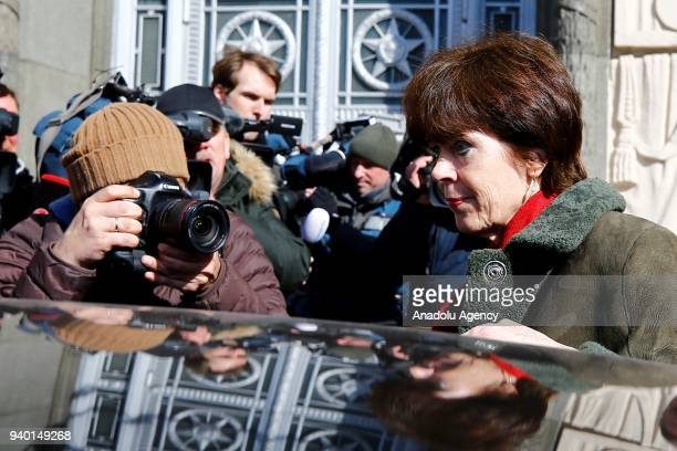 Ambassador of the Netherlands to Russia Regina Veronica Maria JonesBos leaves the Russian Foreign Ministry building in Moscow Russia on March 30 2018...
