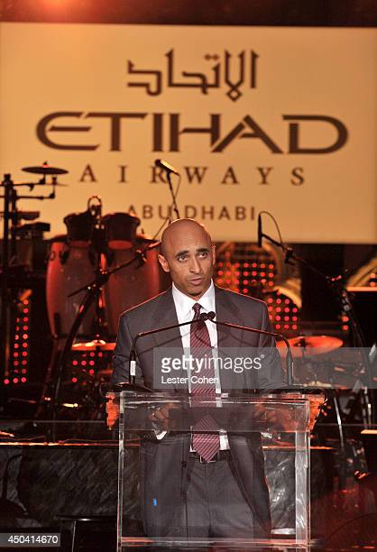 Ambassador of the United Arab Emirates to the US Yousef Al Otaiba speaks onstage during a gala to celebrate Etihad Airways' worldclass nonstop...