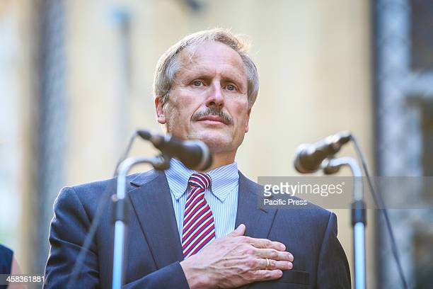 US EMBASSY BAKU AZERBAIJAN Ambassador of the United States to Azerbaijan Robert Cekuta listen to the national anthem during the ceremony marking the...