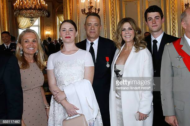 Ambassador of USA in France Jane D Hartley Actor Tom Hanks his wife actress Rita Wilson their son Truman Theodore Hanks and Tom's daughter Elizabeth...