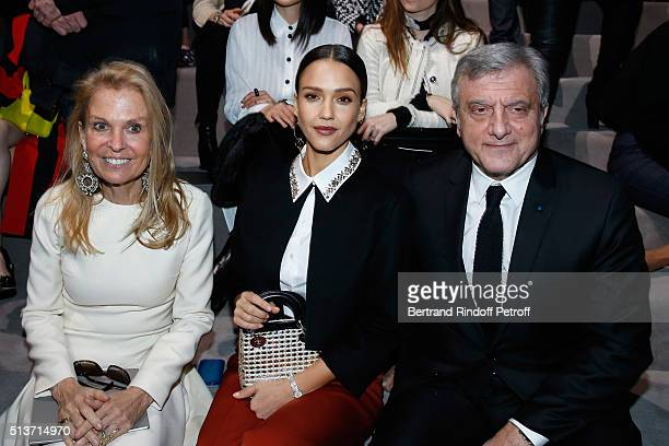 Ambassador of USA in France, Jane D. Hartley, Jessica Alba and CEO Dior, Sidney Toledano attend the Christian Dior show as part of the Paris Fashion...