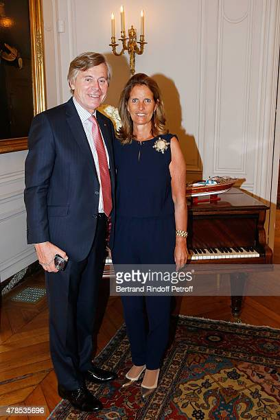 Ambassador Patrick Vercauteren Drubbel and his wife Alexandra Vercauteren Drubbel attend the cocktail party for the departure of the ambassador of...