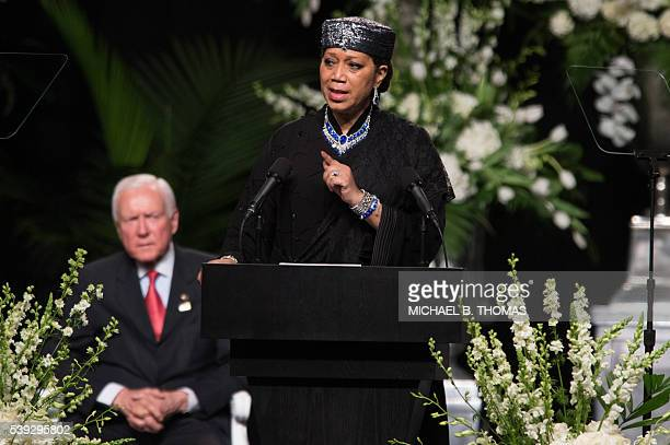 Ambassador Qubilah Shabazz the second daughter to civil rights icon Malcolm X speaks during the memorial service for boxing legend Muhammad Ali at...
