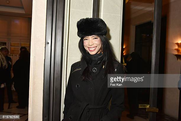 UNESCO ambassador Vanessa Modely attends 'Guitar Tribute' by Golden disc awarded Jean Pierre Danel at Hotel Burgundy on April 7 2015 in Paris France