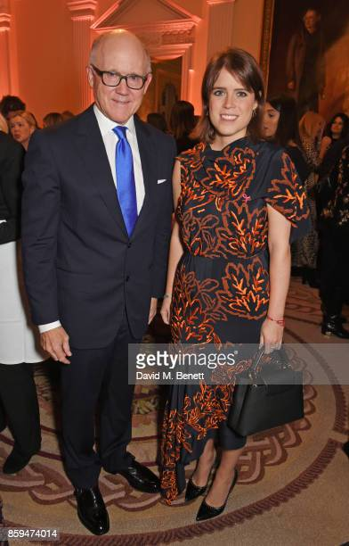 Ambassador Robert W Johnson US Ambassador to the UK and Princess Eugenie of York attend the 25th Anniversary of the Estee Lauder Companies UK's...