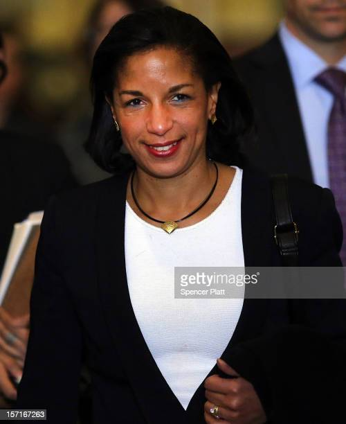 Ambassador Susan Rice leaves following a General Assembly vote granting Palestinians non-member observer status on November 29, 2012 in New York...