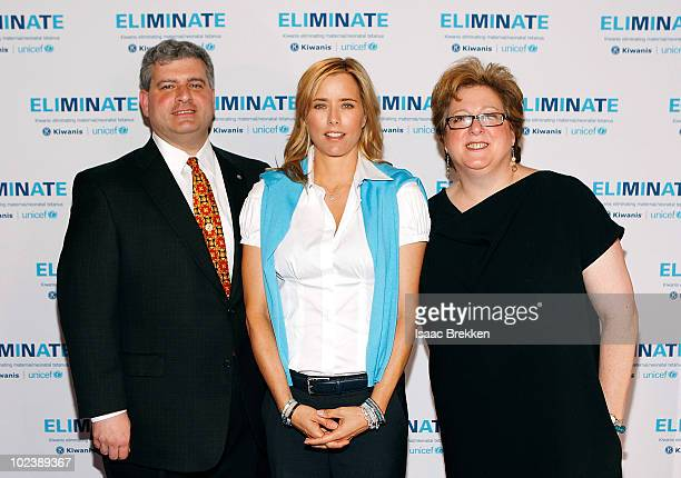 Ambassador Tea Leoni with Kiwanis International President Paul Palazzolo and US Fund for UNICEF President and CEO Caryl M Stern attend the 95th...