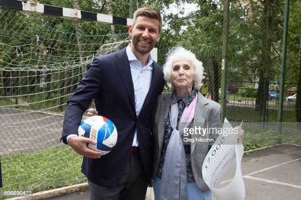 Ambassador Thomas Hizlspergers poses with Elizabeth Levina head of The Don Bosco Children's Home on June 16 2017 in Moscow Russia