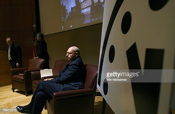 Ambassador Thomas Pickering Kennette Benedict and Lawrence Krauss participate in a press conference held by the The Bulletin of Atomic Scientists...