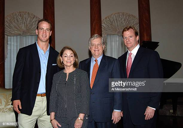 U S Ambassador Thoms Schieffer and his wife with NFL chief operating officer Roger Goodell and Iindianapolis Colts quarterback Peyton Manning at a...