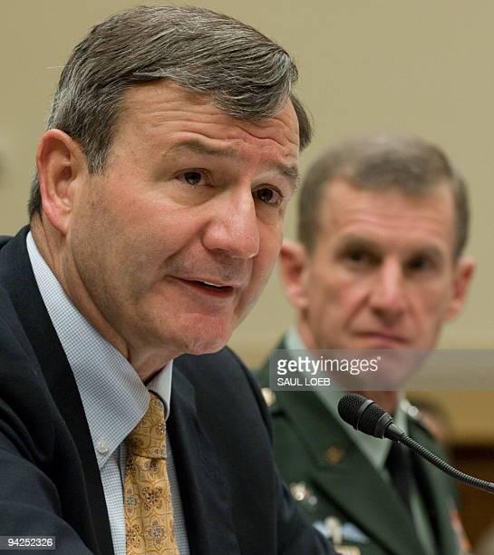 US Ambassador to Afghanistan Karl Eikenberry testifies alongside US General Stanley McChrystal commander of the International Security Assistance...