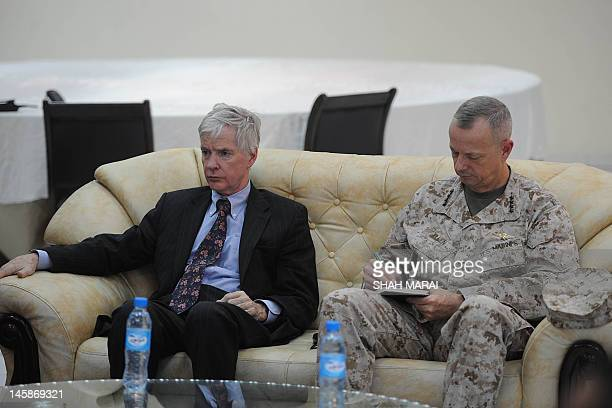 US Ambassador to Afghanistan Ryan Crocker and the head of NATO coalition forces in Afghanistan General John Allen attend a joint press conference...