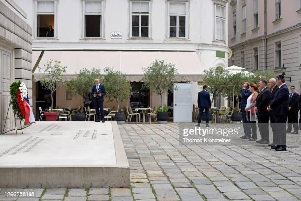 Ambassador to Austria Trevor Traina, Susan Pompeo, U.S. Secretary of State Mike Pompeo, Cardinal Christoph Schoenborn and President of the Vienna...