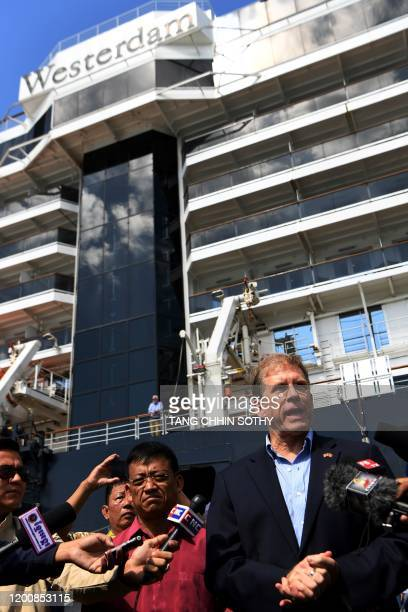 US Ambassador to Cambodia Patrick Murphy speaks to media from the dockside next to the Westerdam cruise ship in Sihanoukville on February 15 2020...
