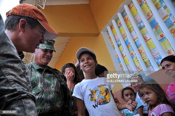 Ambassador to Colombia, William R. Brownfield , and Colombian Commander of the Armed Forces, General Freddy Padilla de Leon , greet Colombias after...