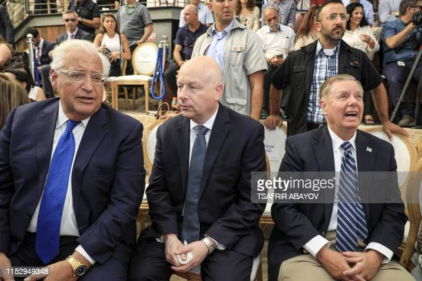 US Ambassador to David Friedman White House Middle East envoy Jason Greenblatt and US Senator Lindsey Graham attend the opening of an ancient road at...