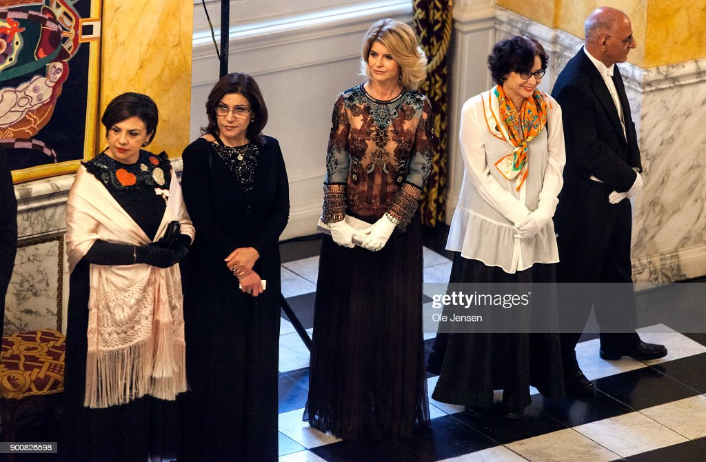 Ambassador to Denmark Carla Sands (C) together with other foreing Ambassador's are lined up to be welcomed by Queen Margrethe of Denmark at the Traditional New Year's Banquet for foreign diplomats hosted by the Queen at Christiansborg Palace on January 3, 2018 in Copenhagen, Denmark.