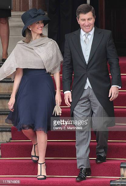 Ambassador to France Charles H. Rivkin and his wife Susan Tolson are seen leaving the Hotol de Paris to attend the religious ceremony of the Royal...