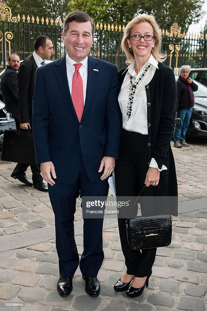 US Ambassador to France Charles H. Rivkin and his wife Susan Tolson arrive at the Louis Vuitton Spring/Summer 2013 show as part of Paris Fashion Week on October 3, 2012 in Paris, France.