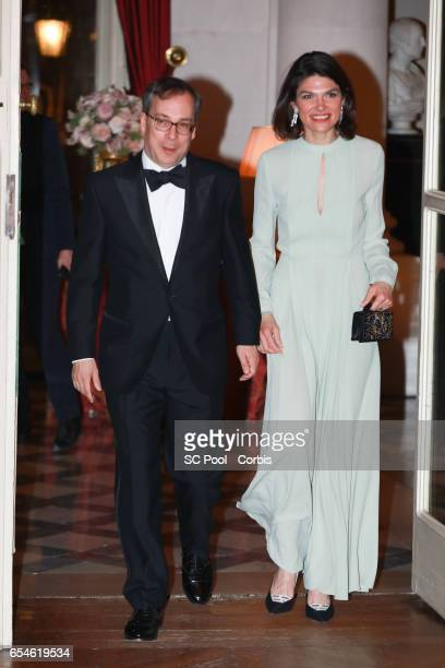 K ambassador to France Edward Llewellyn and wife Anne Llewellyn attend a dinner at the British Embassy on March 17 2017 in Paris France The Duke and...