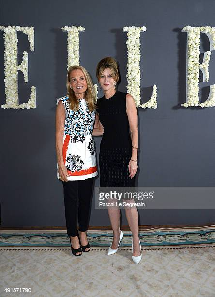 S Ambassador to France Jane Hartley and Elle US Editor in Chief Robbie Myers attend a cocktail party hosted by the US Ambassador to France and Monaco...