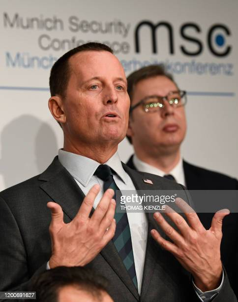 US Ambassador to Germany Richard Grenell and the President of Serbia Aleksandar Vucic attend the signing of an agreement between Kosovo and Serbia...