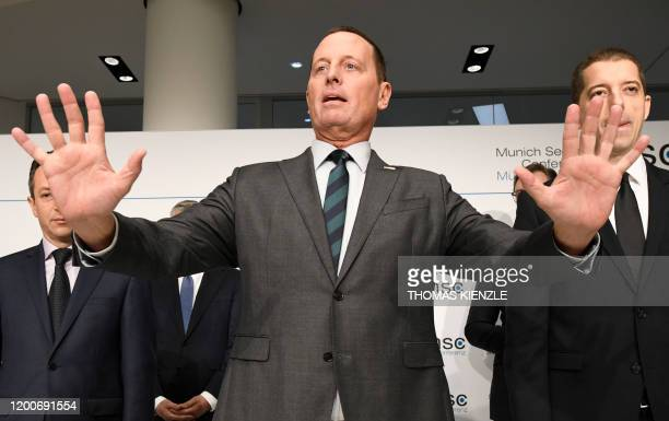 US Ambassador to Germany Richard Grenell gestures during the signing of an agreement between Kosovo and Serbia for railway and street projects at the...
