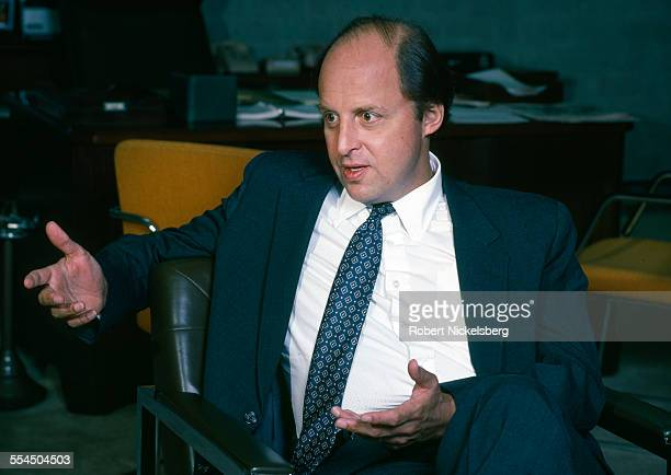 S Ambassador to Honduras John Negroponte speaks to journalists about the US government's support for the Nicaraguan Contras in his office June 1983...