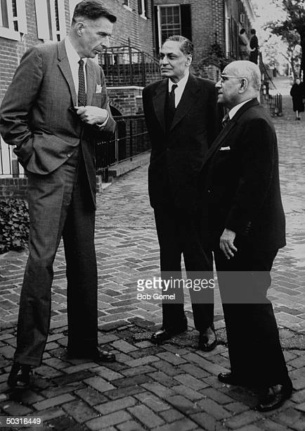 Ambassador to India John Kenneth Galbraith talking with India's Ambassador to the US B. K. Nehru and Indian govt. Official Manilal J. Desai.