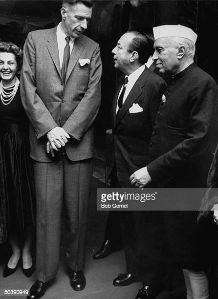 Ambassador to India John Kenneth Galbraith talking with NYC Mayor Robert F. Wagner Jr. And India's Prime Minister Jawaharlal Nehru .