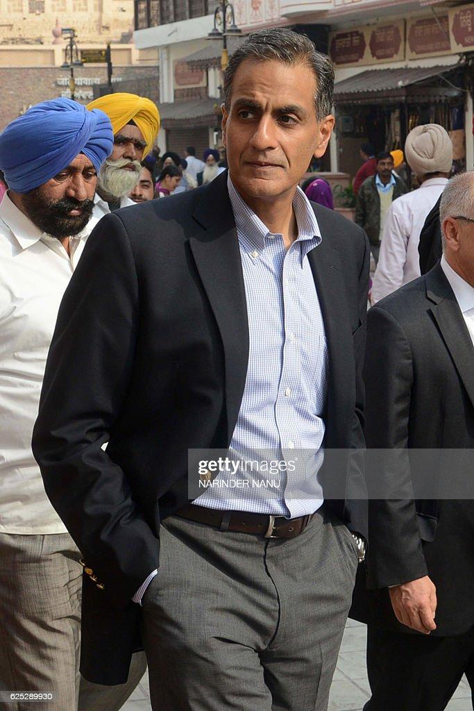 US Ambassador to India Richard Rahul Verma leaves after visiting the Golden Temple in Amritsar on November 23 2016 / AFP / NARINDER NANU