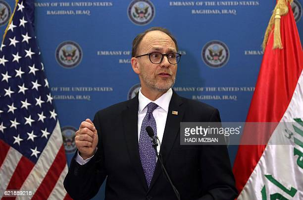 US ambassador to Iraq Douglas Silliman speaks to the press during a monitor election results at the US ambassador's residence in Baghdad on November...
