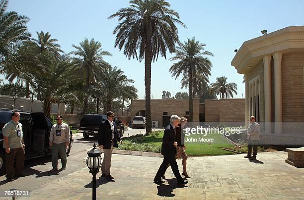 S Ambassador to Iraq Ryan Crocker arrives to his official residence September 5 2007 in Baghdad Iraq Crocker and commanding General David Petraeus...