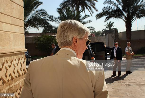 S Ambassador to Iraq Ryan Crocker leaves his house to board his armored car September 2 2007 in Baghdad Iraq Crocker is preparing for his upcoming...