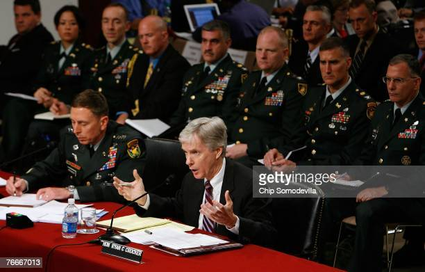 S Ambassador to Iraq Ryan Crocker testifies with General David Petraeus before the Senate Foreign Relations Committee on Capitol Hill September 11...