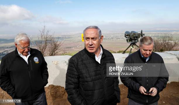 US Ambassador to Israel David Friedman is accompanied by Israeli Prime minister Benjamin Netanyahu and US Senator Lindsey Graham as they visit the...